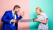 Gender equality and discrimination. Gender rivalry concept. Man and woman stretching expander opposite sides. Business rivalry guy and girl. Gender confrontation at workplace. Gender equal rights. poster