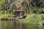 View across river Nile in Egypt through rural countryside landscape with reflection in water and small grass hut poster
