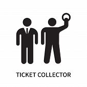Ticket collector icon isolated on white background. Ticket collector icon simple sign. Ticket collector icon trendy and modern symbol for graphic and web design. Ticket collector icon flat vector illustration for logo, web, app, UI. poster