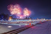 Winter night fireworks over kremlin and Upa quay in Tula, Russia at 2019 poster