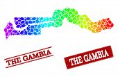 Spectrum dotted map of the Gambia and red grunge stamps. Vector geographic map in bright spectrum gradient colors on a white background. poster