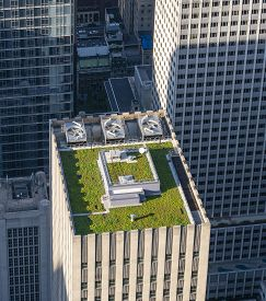 New York, Usa - May 22, 2018: Green Roof Of A Skyscraper In New York City. It Is A Roof Covered With