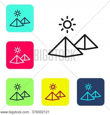 Black Line Egypt Pyramids Icon Isolated On White Background. Symbol Of Ancient Egypt. Set Icons In C