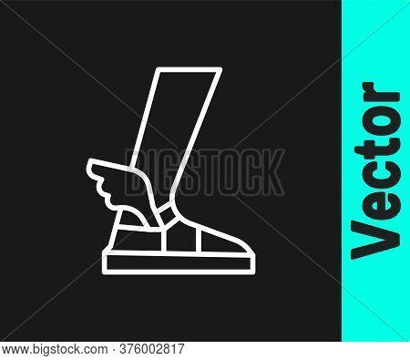 White Line Hermes Sandal Icon Isolated On Black Background. Ancient Greek God Hermes. Running Shoe W
