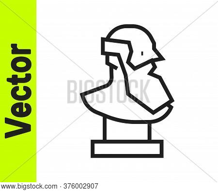 Black Line Ancient Bust Sculpture Icon Isolated On White Background. Vector