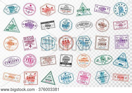 Set Of Travel Visa Stamps For Passports. Abstract International And Immigration Office Stamps. Arriv