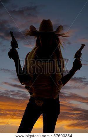 Woman Silhouette Two Guns