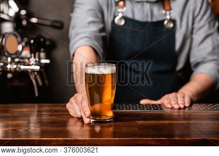 Issuance Of Beer At Bar. Barman In Apron Gives To Client A Glass Of Light Beer On Wooden Counter In