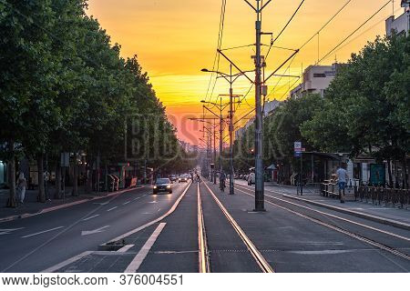Belgrade / Serbia - June 27, 2020: King Alexander Boulevard, Longest Street In Belgrade Capital Of S