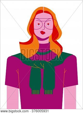 Conceptual Character Portrait - Fashionable Modern Woman With Glasses With Red Hair, Character For A
