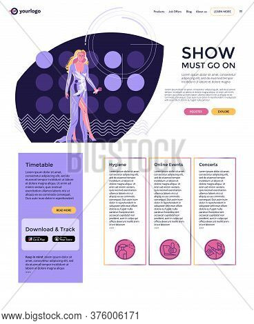 Landing Page Layout, Modern Performer - Woman Singer With  Microphone In Long Evening Dress Walking