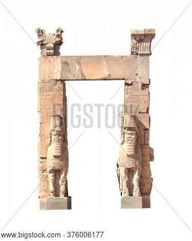 Front view of Gate of All Nations (Xerxes Gate) with stone statues of lamassu in ancient city Persepolis, Iran. UNESCO world heritage site. Isolated on white background