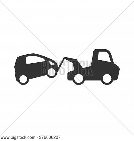 Towing Wrecker Truck And Car Simple  Vector Icon. Car Accident, Wreck Or Tow Help Service Black Glyp