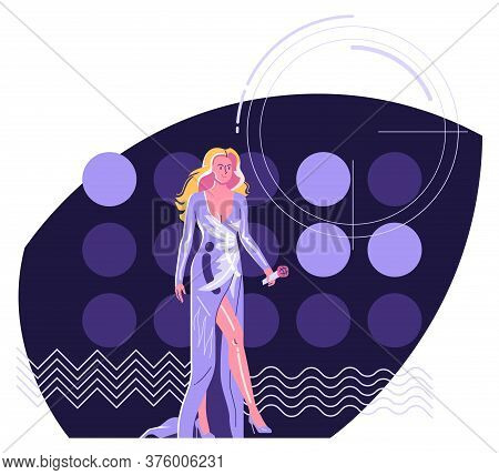 Modern Performer - Woman Singer With  Microphone In Long Evening Dress Walking At Stage Against The