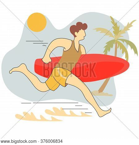 Surfer Boy On A Beach. Young Sporty Man On A Sea Shore With A Surfboard Running To Ride On A Wave, A