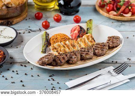 Turkish Traditional Kofte. Spicy Meatballs Kebab Or Kebap.