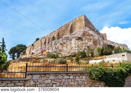 Acropolis Of Athens In Summer, Greece. Famous Acropolis Hill Is Top Tourist Attraction Of Old Athens