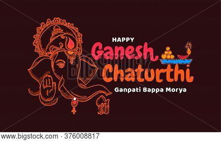 Happy Ganesh Chaturthi. Creative Doodle Calligraphy For Indian Festival Ganesh Chaturthi Text And Ve