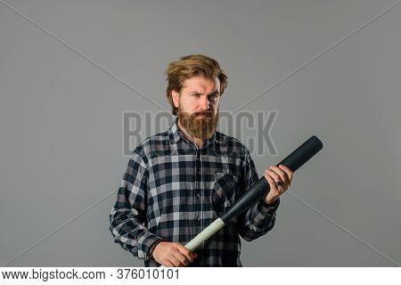 Games With Balls. Baseball Game. Man With Baseball Bat. Man Holds The Bat. Baseball. Sport Bat. Spor