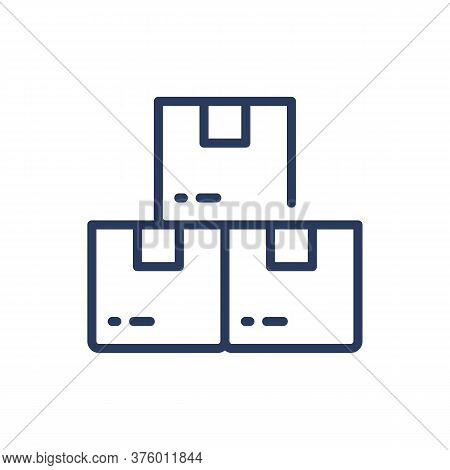 Three Boxes Thin Line Icon. Package, Merchandising, Freight Isolated Outline Sign. Warehouse And Sto