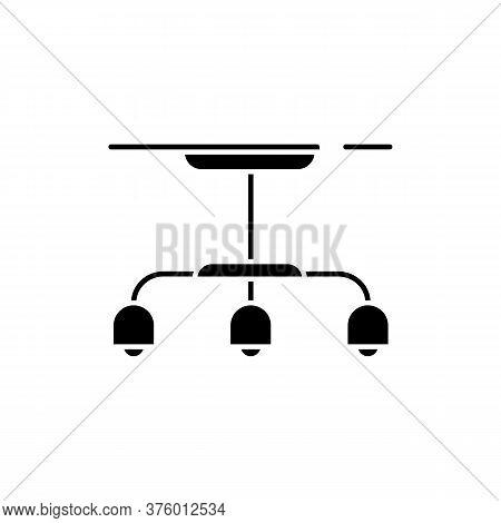 Hanging Lamp Black Glyph Icon. Lighting Spot For Room. Light Bulb On Ceiling. Loft Light Source. Hom