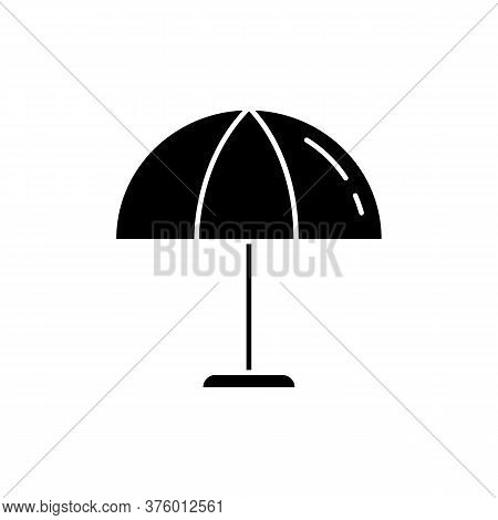 Beach Umbrella Black Glyph Icon. Parasol To Protect From Sun Burn. Relax On Resort. Shelter For Hot