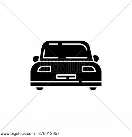 Auto Black Glyph Icon. Front View On Car. Vehicle For Transportation. Personal Car. Clear Windshield
