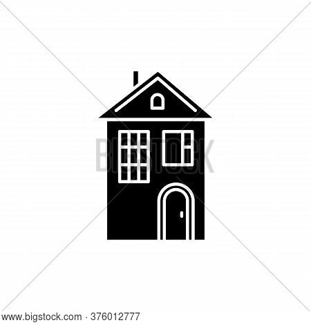 Home Black Glyph Icon. Suburban House. Modern Family Home For Sale. Downtown Dwelling. Real Estate O