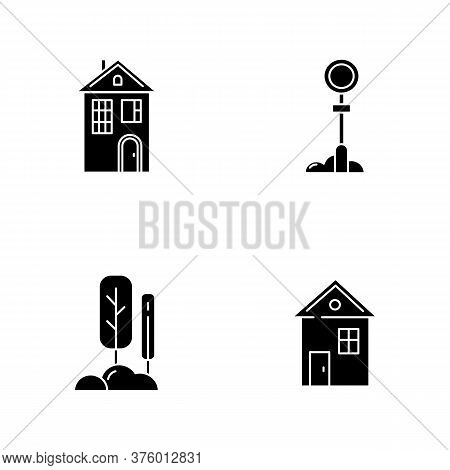 Suburban Life Black Glyph Icons Set On White Space. Real Estate. House For Living. Urban Park Near H