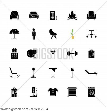 Apartment Amenities Black Glyph Icons Set On White Space. Comfort Living. House Furniture And Lighti