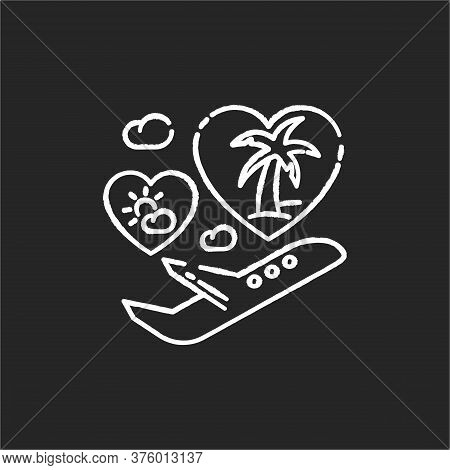 Honeymoon Chalk White Icon On Black Background. Romantic Vacation After Wedding, Tropical Journey. T