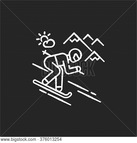 Skiing Chalk White Icon On Black Background. Winter Vacation, Seasonal Extreme Tourism. Active Recre