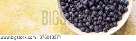 Forest Berries Blueberry, Bramble In A Ceramic Bowl.top View.space For Text.blueberry Antioxidant. C