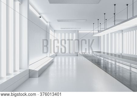 Futuristic Gallery Interior With Empty White Wall And Exhibition Table. Gallery, Advertisement, Pres
