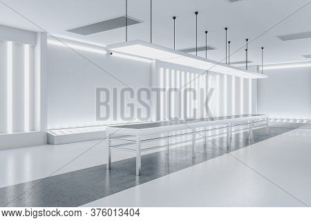 Minimalistic Gallery Interior With Empty White Wall And Exhibition Table. Gallery, Advertisement, Pr