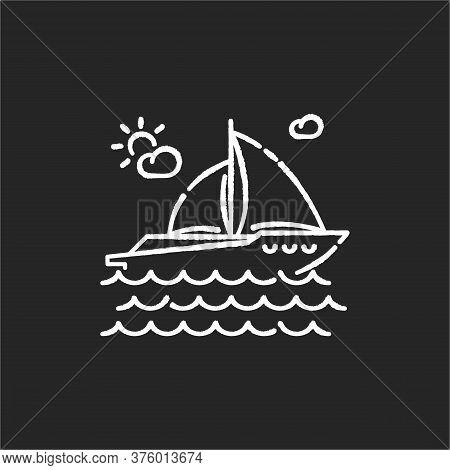 Yachting Chalk White Icon On Black Background. Luxurious Recreation, Nautical Tourism, Sailing Sport