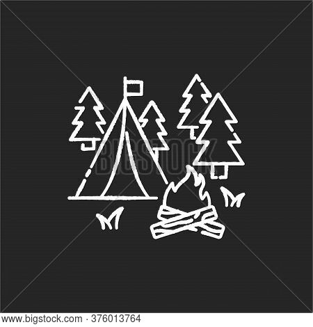 Camping Chalk White Icon On Black Background. Nature Tourism, Outdoor Recreation. Inexpensive Vacati