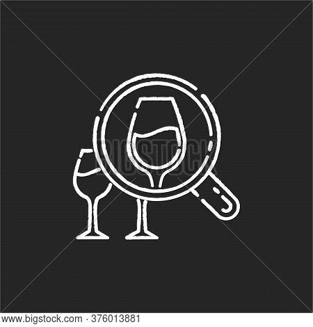 Enotourism Chalk White Icon On Black Background. Wine Tasting Tours, Winemaking. Alcohol Drinks Degu