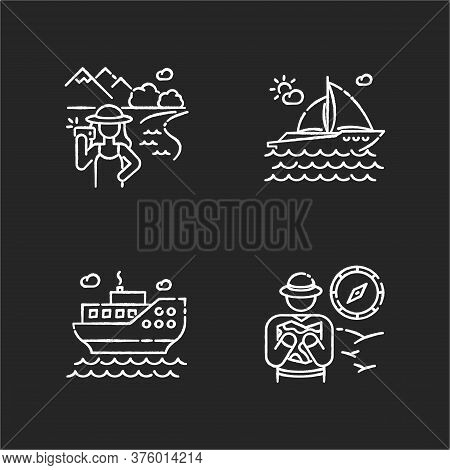 Popular Vacation Activities Chalk White Icons Set On Black Background. Sea Cruise, Luxurious Yachtin