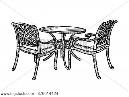 Street Outdoor Furniture In The Summer Cafe. Smal Round Table With Two Wicker Armchairs. Vector Sket