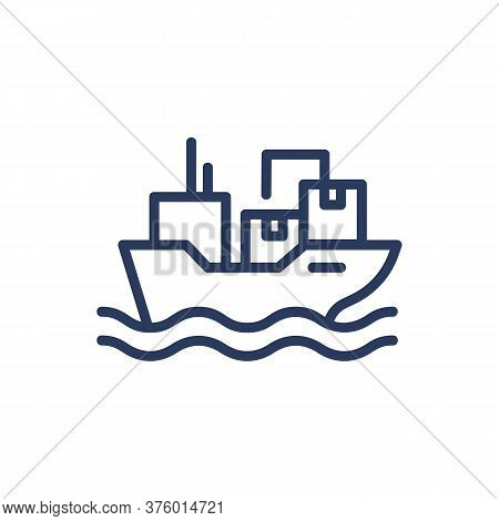 Sea Transportation Thin Line Icon. Ship, Cargo, Box Isolated Outline Sign. Delivery Service And Ship