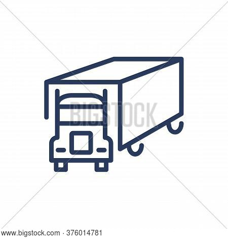 Shipping Lorry Thin Line Icon. Truck, Transportation, Vehicle Isolated Outline Sign. Delivery Servic