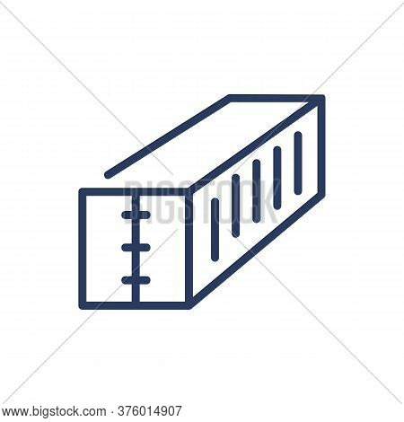 Freight Container Thin Line Icon. Shipment, Transport, Metal Isolated Outline Sign. Warehouse And De