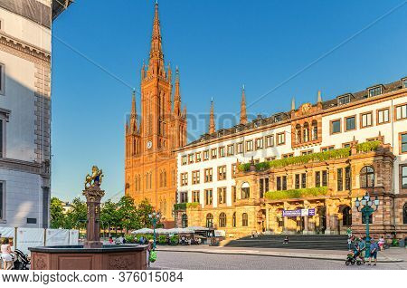 Wiesbaden, Germany, August 24, 2019: City Palace Stadtschloss Or New Town Hall Rathaus And Evangelic