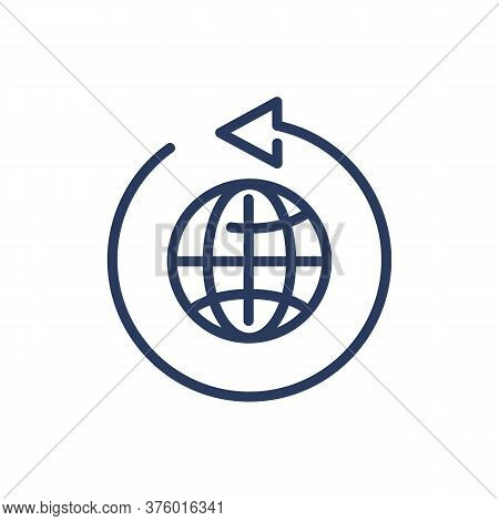 Worldwide Shipping Thin Line Icon. Commerce, Globe, Arrow Isolated Outline Sign. Delivery Service An