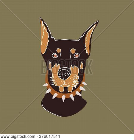 Hand-drawn Illustration Of A Dog. Doberman Portrait Made In A Pleasant Green Color Scheme, Inspired