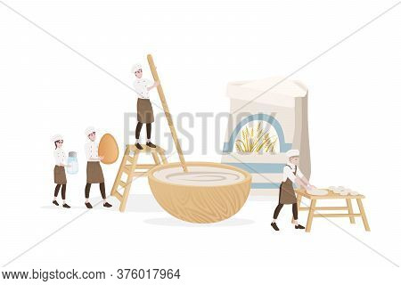 Bakery Manufacturer Male And Female Chef Cooking Use Wooden Table And Bowl For Dough Professional Ba