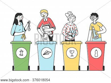 People Sorting Trash And Rubbish Flat Illustration. Responsible Men And Women Standing Near Dustbin