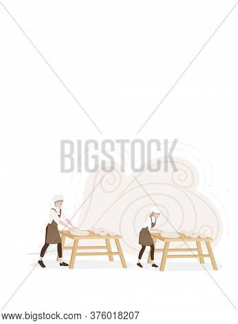 Professional Chef Male And Female Making Dough For Baking Working On Wooden Tables Cartoon Character