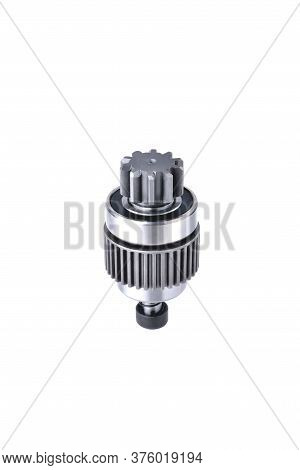 Starter Bendix, Car Starter Detail, Car Accessories, Car Parts Close-up Isolate On White Background